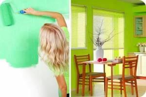 этапы покраски стен на кухне